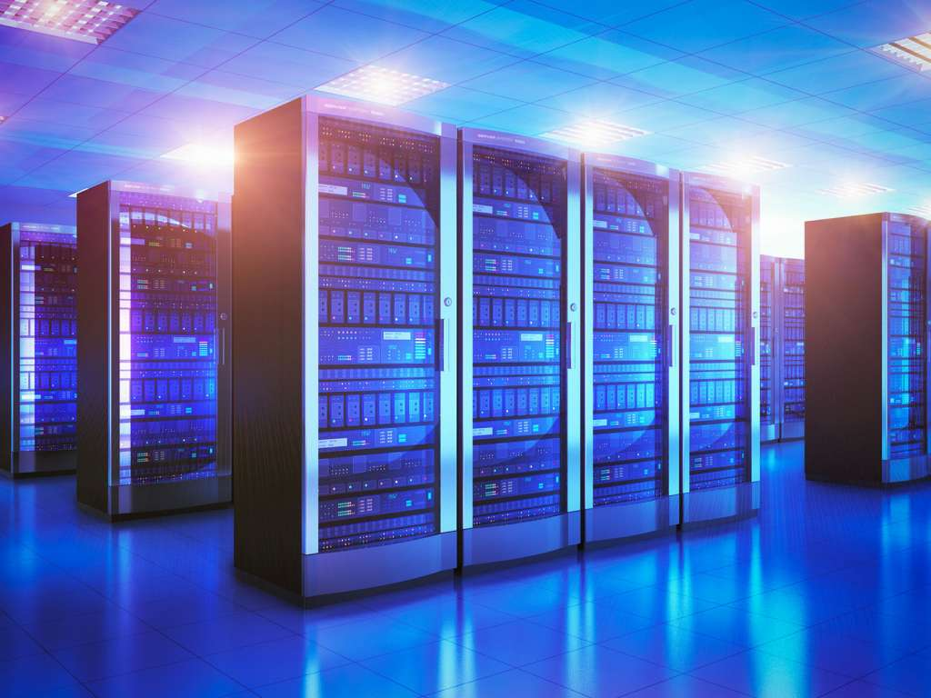 Modern web network and internet telecommunication technology, big data storage and cloud computing computer service business concept: 3D render illustration of the server room interior in datacenter in blue light